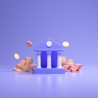 Financial concept. bank deposits and withdrawal, transactions, bank service. coins falling, and bank with cartoon style on blue background. 3d render illustration