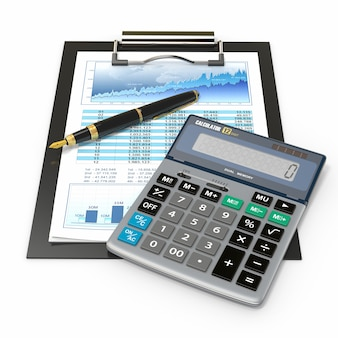 財務コンセプト。株価チャート、電卓、ペン。