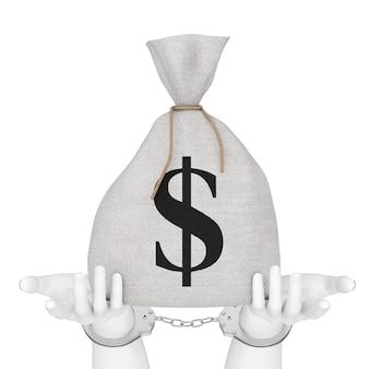 Финансовые преступления и концепция закона. белые абстрактные руки в наручниках с связанным деревенским холстом льняным денежным мешком или денежным мешком со знаком доллара на белом фоне. 3d рендеринг