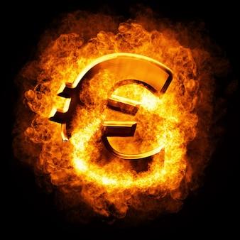 Финансовый кризис. горящий сломанный золотой евро
