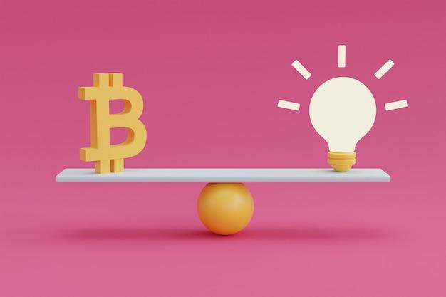 ピンクの背景に電球とお金の金融暗号通貨の概念