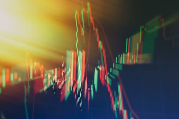 Financial data on a monitor which including of market analyze. bar graphs, diagrams, financial figures. forex chart.