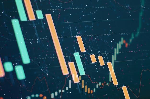 Финансовые данные на мониторе, в том числе market analyze. гистограммы, диаграммы, финансовые показатели. абстрактные светящиеся обои интерфейса диаграммы форекс. инвестиции, торговля, акции, финансы