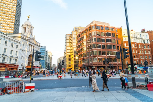 Financial district in the intersection of cannon street with queen vitoria street in london