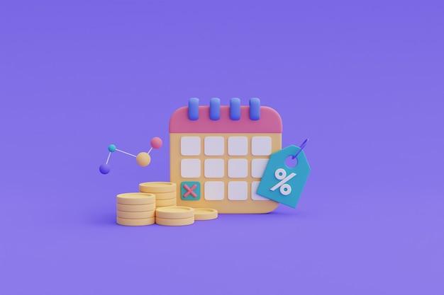 財務の将来計画の概念、支払い期限、カレンダー、コインスタック.3dレンダリング。