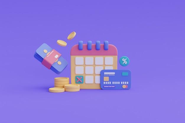 財務の将来計画の概念、支払い期限、カレンダー、クレジットカード、コインスタック.3dレンダリング。