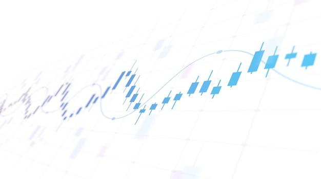 Финансовый график с восходящей линией свечей на фондовом рынке на белом фоне