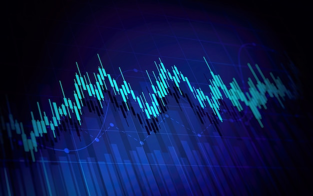 Financial graph with up trend line candlestick chart in stock market on blue color background