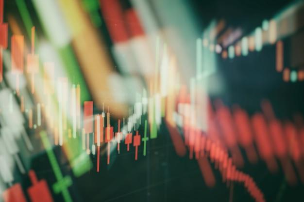 コンピューターのモニターでの専門的なテクニカル分析のためのボリューム分析を含む、さまざまなタイプの指標を備えた金融商品。ファンダメンタル分析とテクニカル分析の概念。