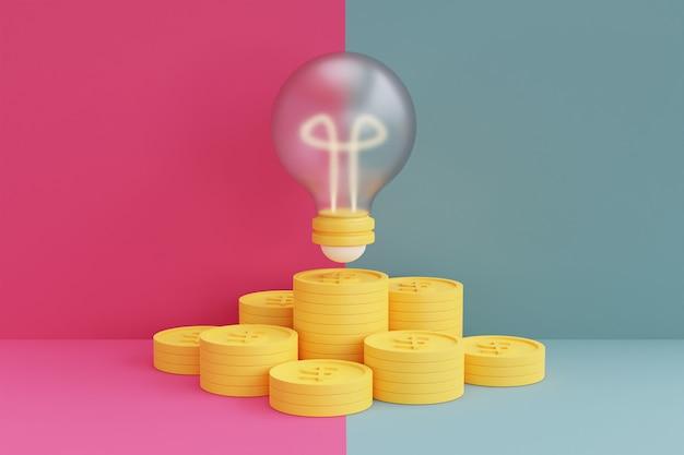 ピンクと青の背景に電球とお金と金融投資の概念