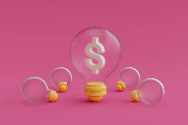 ピンクの背景に電球とお金と金融投資の概念