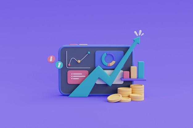Финансовые вложения в будущее понятие роста доходов, рост активов с течением времени, стек монет, график. 3d визуализация.