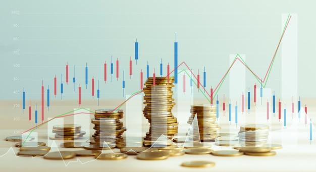 金融市場、コイン成長の概念とグラフ分析キャンドルライン、証券取引所市場の概念。