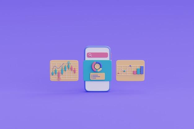 グラフ付きのスマートフォン画面上の財務報告チャート、成長株チャート、金融投資コンセプト。3dレンダリング。