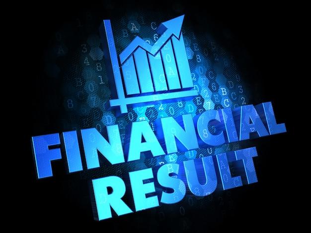 財務結果の概念-暗いデジタル背景の青色のテキスト。