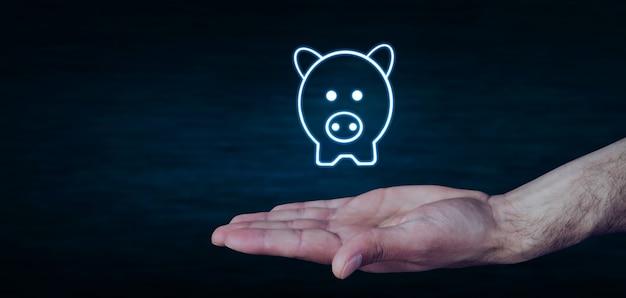 Концепция финансовых услуг на синем фоне