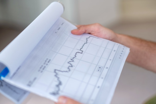 Financial statistics. close up picture of a paper with a diagram