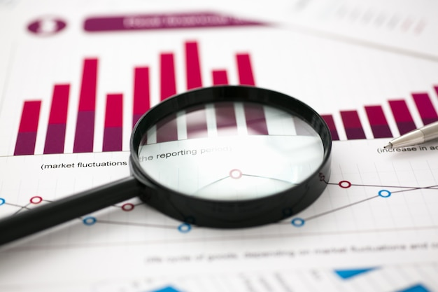 Financial statistics documents on table