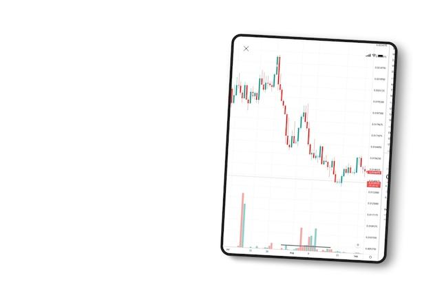 흰색 바탕에 태블릿 화면에 금융 주식 시장 그래프. 평면도. 증권 거래소.