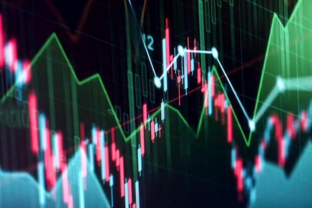 График финансового фондового рынка. фондовая биржа. выборочный фокус.
