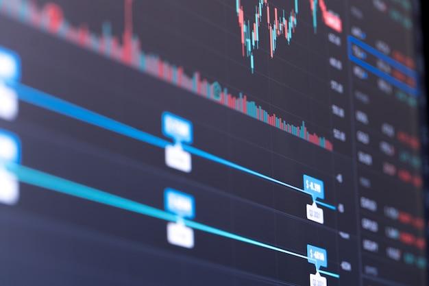 금융 주식 시장 그래프입니다. 증권 거래소. 선택적 초점입니다.