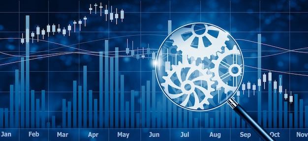 톱니바퀴 메커니즘이 있는 금융 주식 시장 인터페이스 및 돋보기