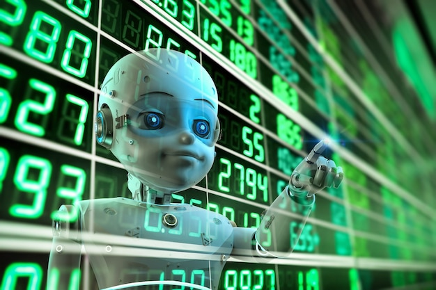 Financial technology concept with 3d rendering cute robot analyze stock market