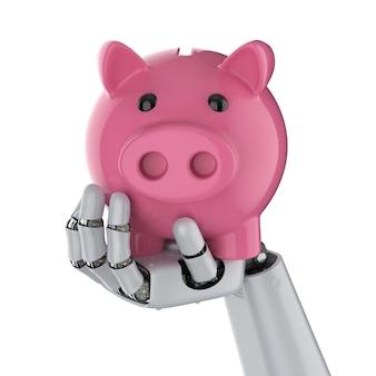 Концепция финансовых технологий с 3d-рендерингом, рука киборга, держащая копилку