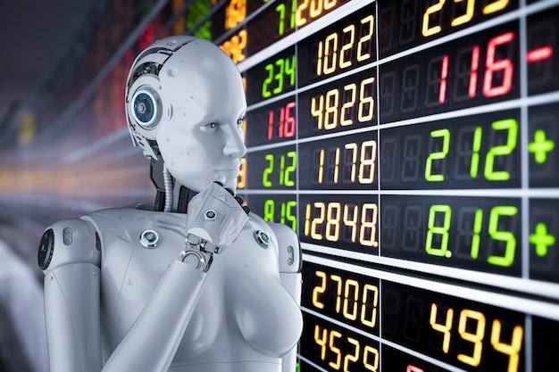 3d 렌더링 여성 사이보그 또는 로봇이 있는 금융 기술 개념은 주식 시장을 분석합니다.