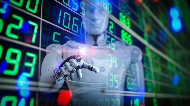 3d 렌더링 휴머노이드 로봇이 있는 금융 기술 개념은 주식 시장을 분석합니다.
