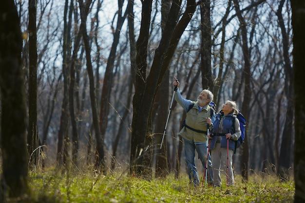 ある理由を見つけてください。晴れた日に木の近くの緑の芝生を歩いて観光服の男女の老家族カップル。観光、健康的なライフスタイル、リラクゼーションと一体感の概念。