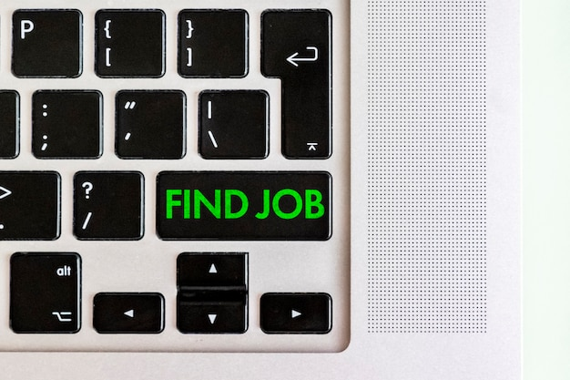 A find job text on the keyboard computer, opportunity vacations search
