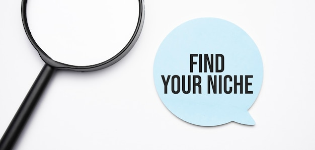 Find your niche speech bubble and black magnifier isolated on the yellow background.
