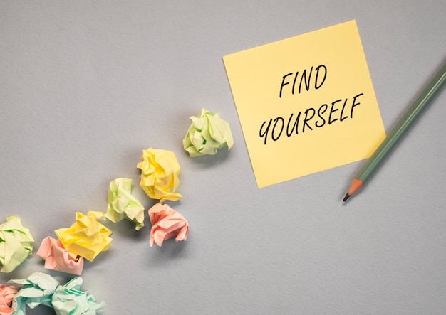 Find yourself concept. searchina and creating your self text.