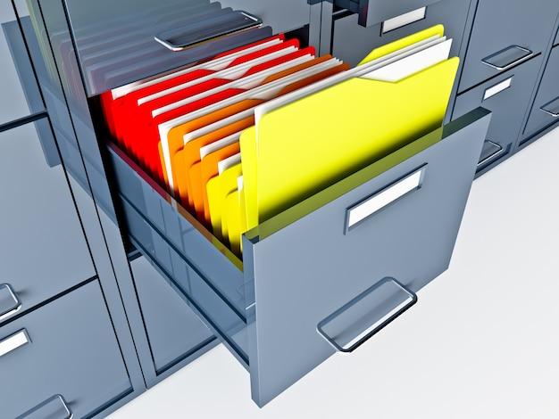 ファイルキャビネットフォルダの細かい3d画像