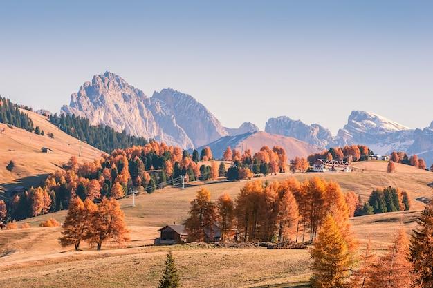 山と色とりどりの木々のある素晴らしい秋の風景
