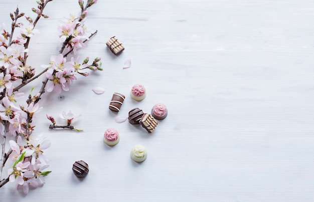 Fine chocolate pralines and almond blossom brunches