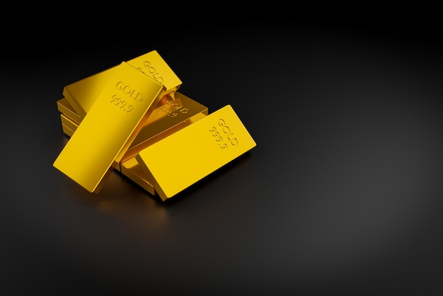 Fine gold bar on black background with copy space, 3d illustration rendering