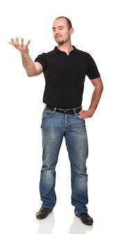 Прекрасный портрет белого человека, смотрящего его пустую руку