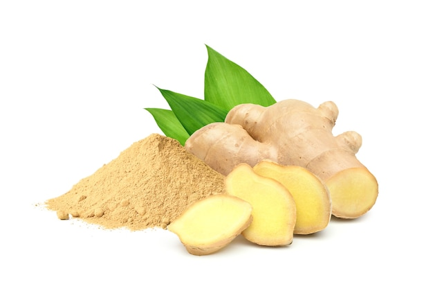 Finely dry ginger powder with fresh   rhizome slices and green leaves isolated on white background.