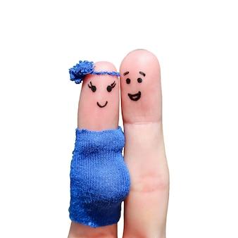Искусство пальца счастливой пары. женщина беременна.