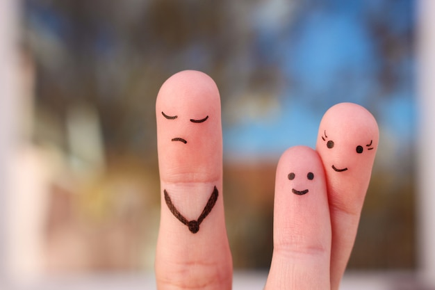 Палец искусство семьи во время ссоры.