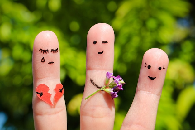 Finger art of people. man flirts with woman. other girl is holding broken heart