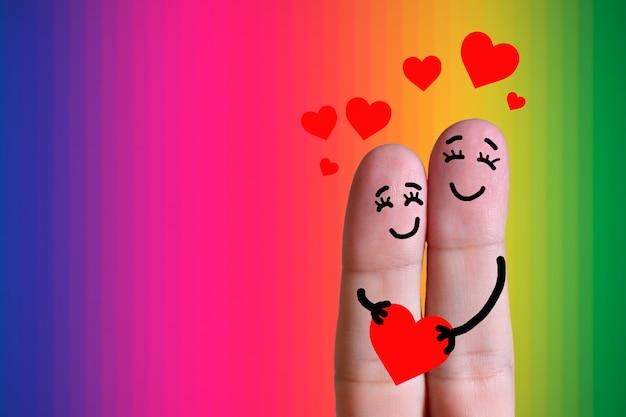 손가락 얼굴 명랑한 한 쌍 에 사랑