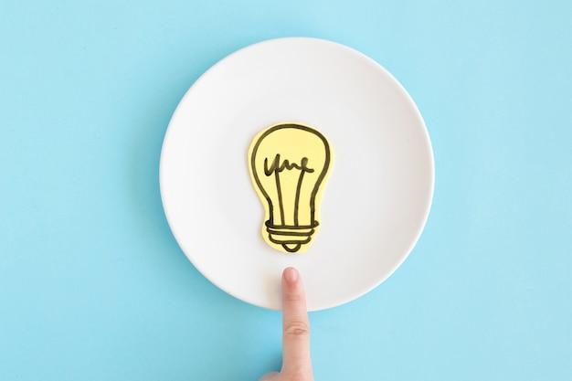 파란색 배경에 흰색 접시에 종이 컷 아웃 전구를 향해 가리키는 손가락