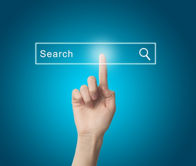 Finger pressing a search engine