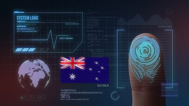Finger print biometric scanning identification system. australia nationality
