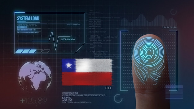 Finger print biometric scanning identification system. chile nationality