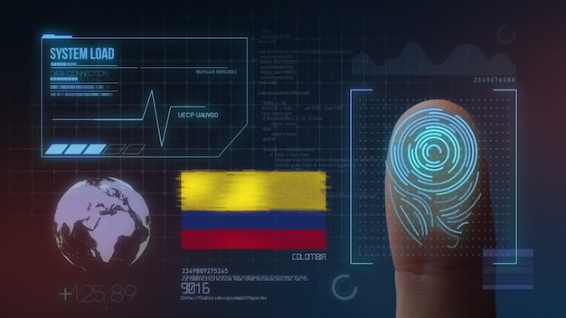 Finger print biometric scanning identification system. colombia nationality