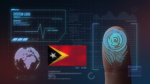 Finger print biometric scanning identification system. east timor nationality